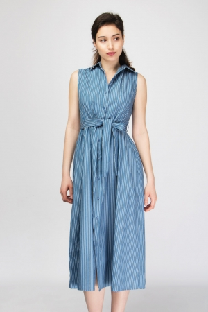 Denim Stripped Dress With Belt