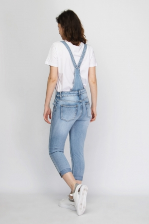COZY Acid Wash Dungarees in Blue