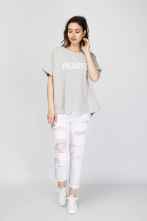"Oversized ""#Beautiful"" Print T-Shirt"
