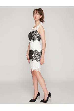 Crochet Dress in Black and White