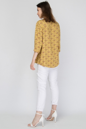 Stand-Up Collar Floral Shirt