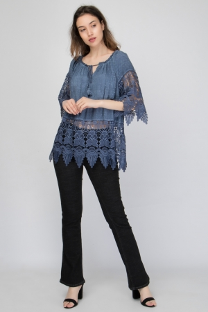82b0ee42e442 Μπλούζα με Δαντέλα Κιπούρ