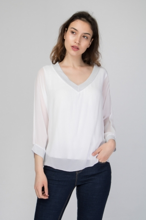 Plunge Wrap Blouse With Lurex Details