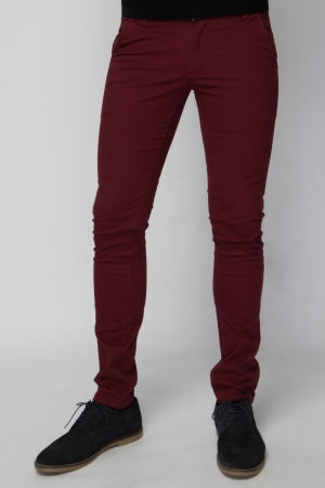 Burgundy Chino Trouser - Skinny Fit