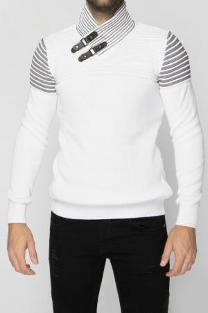 Πλεκτή Λευκή Μπλούζα Leather Look Λουράκια