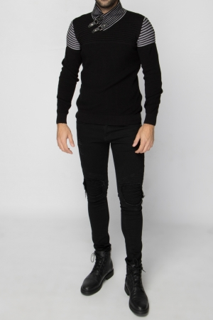 Πλεκτή Μαύρη Μπλούζα Leather Look Λουράκια