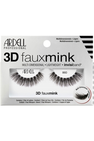 Ardell 3D Faux Mink 860 False Eyelashes Black 1pc
