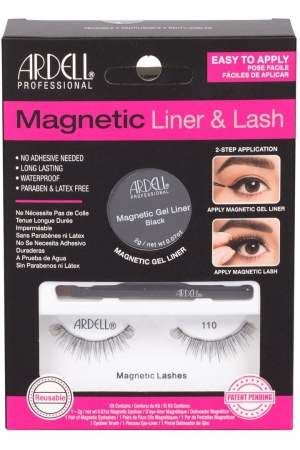 Ardell Magnetic Liner & Lash 110 False Eyelashes Black 1pc Combo: Magnetic Lashes 110 1 Pair + Magnetic Gel Line 2 G Black + Liner Brush 1 Pc