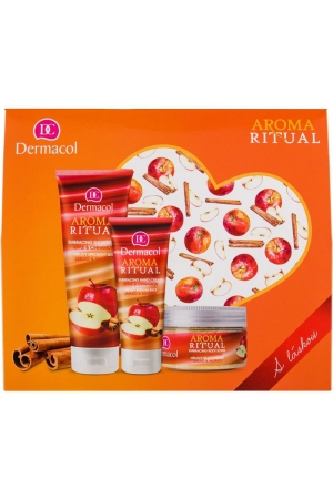 Dermacol Aroma Ritual Apple & Cinnamon Shower Gel 250ml Combo: Shower Gel 250 Ml + Body Peeling 200 G + Hand Cream 100 Ml