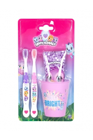 Hatchimals Toothbrush 2ml - Set Combo Toothbrush 2 Pcs + Tooth Paste 75 Ml + Toothbrush Cup