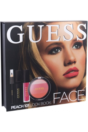 Guess Look Book Blush 101 Peach 14gr Combo: Blush 14 G + Lip Shine Matte 4 Ml + Mascara Black 4 Ml + Eye Pen Black 0,5 G + Mirror
