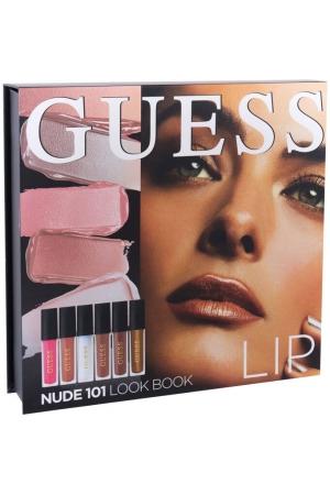 Guess Look Book Lip Lipstick 101 Nude 4ml Combo: Lip Stick 3 X 4 Ml + Lip Shine 3 X 4 Ml + MIrror