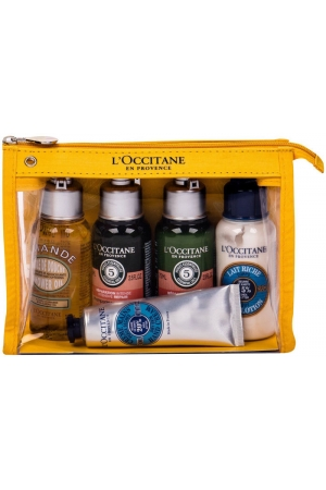 L´occitane Almond (Amande) Shower Oil 75ml Combo: Shower Oil 75 Ml + Shampoo 75 Ml + Conditioner 75 Ml + Body Lotion Shea Butter 75 Ml + Hand Cream 30 Ml Shea Butter + Cosmetic Bag