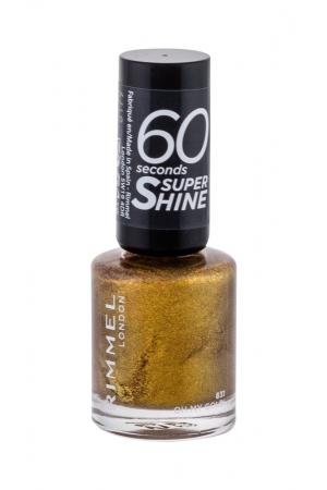 Rimmel London 60 Seconds Super Shine Nail Polish 8ml With Glitter 831 Oh My Gold! (Gold)