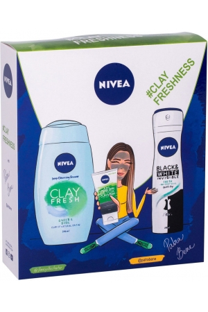 Nivea Clay Fresh Shower Gel Ginger & Basil 250ml + 3in1 Urban Skin Detox Clay Wash 150ml + Antiperspirant Black & White Invisible Fresh 150ml