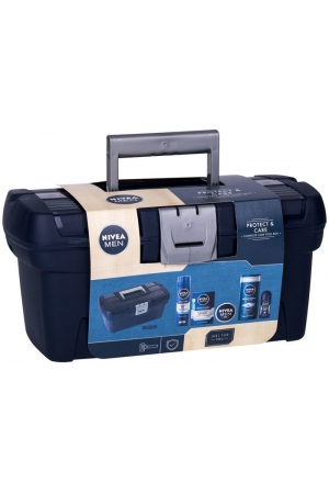 Nivea Men Protect & Care Shower Gel 250ml Combo: Shower Gel 250 Ml + Aftershave Water 100 Ml + Antiperspirant Roll-on 50 Ml + Men Cream 150 Ml + Shaving Gel 200 Ml + Tool Box Damaged Packaging
