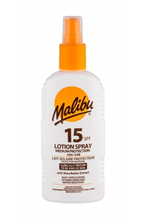Malibu Lotion Spray Sun Body Lotion 200ml Waterproof Spf15