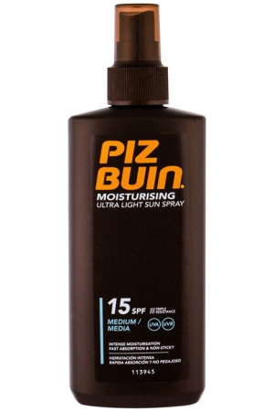 Piz Buin Moisturising Ultra Light Sun Spray SPF15 Sun Body Lotion 200ml (Waterproof)