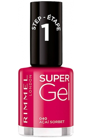 Rimmel London Super Gel STEP1 Nail Polish 040 Acai Sorbet 12ml