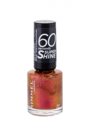 Rimmel London 60 Seconds Super Shine Nail Polish 8ml With Glitter 834 Fab! (Pink)