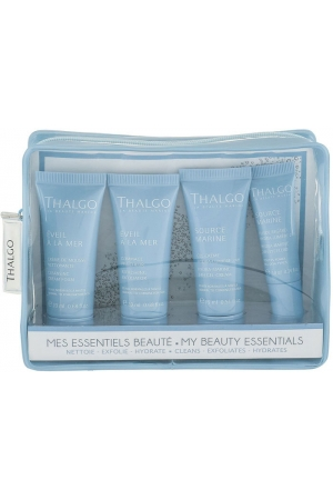 Thalgo Source Marine Day Cream 15ml Combo: Day Care 15 Ml + Eye Cream 10 Ml + Cleansing Foam Éveil á La Mer 20 Ml + Peeling Éveil á La Mer 20 Ml + Cosmetic Bag (For All Ages)