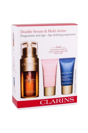 Clarins Double Serum Skin Serum 30ml Multi-active Set Combo Facial Serum 30 Ml + Daily Facial Care 15 Ml + Night Facial Care 15 Ml (All Skin Types - Mature Skin)
