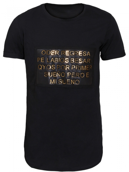 Longline Μπλούζα με Χρυσά Ανάγλυφα Γράμματα