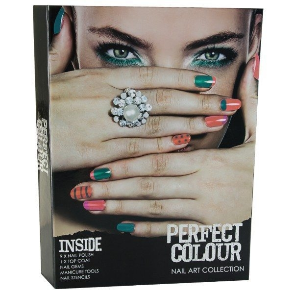 Jigsaw - Perfect Colour Nail Art Collection: 9 X Nail Polish, 1 X Top Coat, Nail Gems, Manicure Tools, Nail Stencils