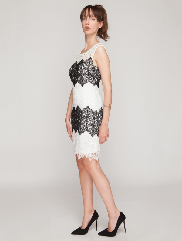 Crochet Dress in Black and White