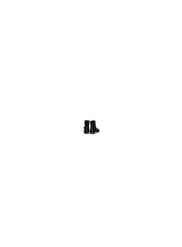 Δερμάτινο Ίσιο Μποτάκι με Λάστιχα-Μαύρο