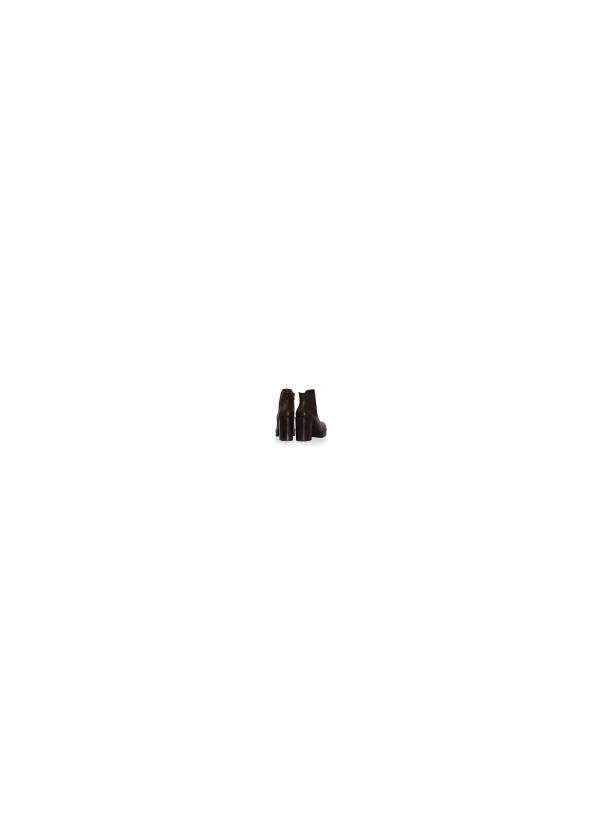 Μποτάκι με Τακούνι και Λεπτομέρεια Λάστιχα-Καφέ Σκούρο